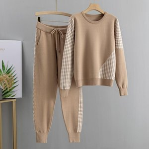 GIGOGOU Jacquard Knit 2 Piece Set Tracksuits Fall Winter Basic Women Pullover Sweater + Carrot Harem Pants Sporting Suit Female