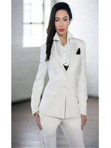 New White Elegant Formal Work Wear Slim 2 PCS Sets Womens Business Suits Two Button Blazer Female Trousers Suit Office Uniform