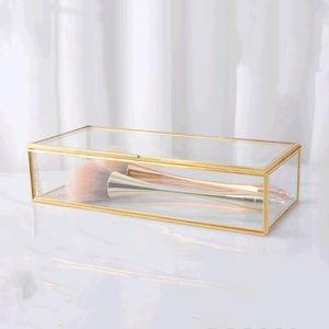 보석 상자 스토리지 박스 FWA1863 마무리 간단한 금 테 유리 선물 상자 수거함 레트로 보석 디스플레이 장식 박스 메이크업 데스크