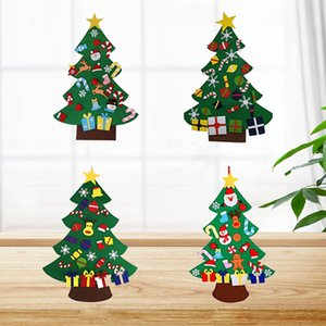DIY Felt Christmas Tree Decorations Kids Gifts Xmas Tree Door Wall Hanging Ornaments Artificial Tree for Home Navidad Decor