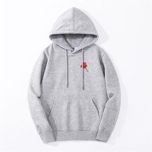 Autumn New Style Japanese Aesthetic Rose Hoodies Men Harajuku Casual Warm Fleece Sweatshirt Male Hip Hop Fitness Streetwear 201020