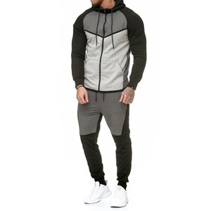 2018 Automne Fitness Sportswear Hommes Set Fashion Tracksuits Ensembles Homme Bodybuilding Hoodies Pant Casual Outwear Costudes Dropshipping