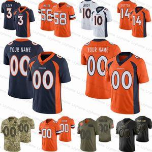 Personalizado Mens Mulheres DenverbroncosJuventude 10 Jerry Jeudy 30 Phillip Lindsay 58 Von Miller Noah Fant 3 de Drew Bloqueio Peyton Manning Jerseys