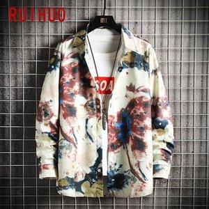 Ruihuo Harajuku Gömlek Erkekler Giyim için 2021 Moda Streetwear Erkekler Gömlek Uzun Kollu Düğme Yukarı Gömlek Kore Giysileri M-5XL