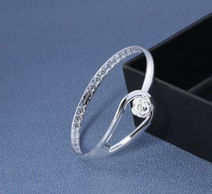 Bangle Bracelets 925 Sterling Silver Rose Flower Cuff Fashion Bangle For Women Jewelry jllXxj carshop2006