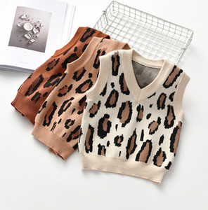 Kids leopard sweater waistcoat Autumn new children V-neck knitted vest boys girls all-match casual tops A4546