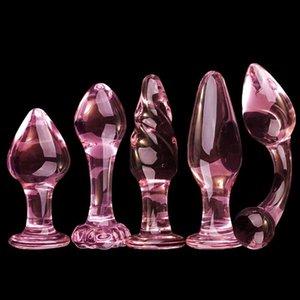 Balls Glass Anal Plug Hintern Dilator Toys Anus Sex Butt-Plug-Glas-Spielwaren für Frau Sexy Anal Y191028 Dildo Exquisite Plugs Rosa Hmndh