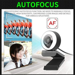Desktop Streaming Camera Webcam Desktop Streaming with Multi-step Ring Light Lamp for Tik Tok Live Streaming Black