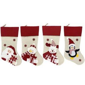Новый рождественский чулок носки Xmas подарков конфеты мешок Noel Новогодние украшения Новый год Natal Navidad Носок Рождественская елка орнамент GWD2477