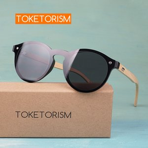 Toketorism бамбук очки модно солнцезащитные очки круглой рамки для мужчин и женщин 913