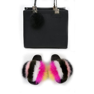 Fur Slides for Woman And Purse Set Furry Fuzzy Slippers With Bag Match Fluffy Sandals And Bags Women Shoes For Matching Purses