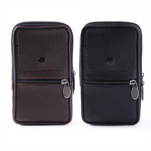 Outdoor Fashion Vertical PU Leather Men Waist Pack Portable Zip Coin Purse Phone Bag Fanny Pack Pocket Mini Belt Waist Bags
