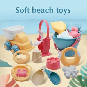 Beach Toys For Kids 5-17pcs Baby Beach Game Toys Children Sandbox Set Kit Summer Toys for Beach Play Sand Water Game Play Cart 200928