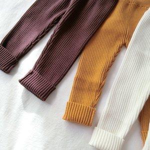 Новые детские вязание брюки малыша девушка брюки зимние теплые дети Леггинсы мальчики брюки установлены ребристые детские одежда LJ201127
