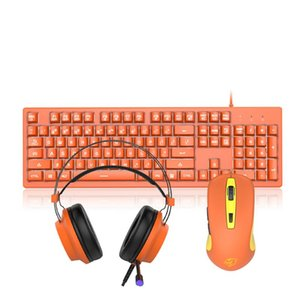 3 IN 1 Combos 104 Keys Membrane Keyboard 5000DPI Mouse and RGB Audio Recognition Headset Earphone for Desktop