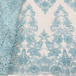 luxury lace fabric with heavy handwork beaded embroidery bridal laces fabrics, top end dress lace fabric