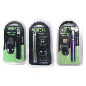 Vertex 350mah LO Preheat 510 VV battery Ego wireless USB charger For 510 thread Glass cartridge Thick oil atomizer preheating vape pen