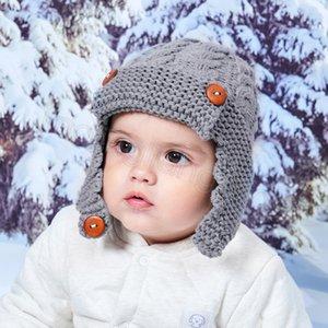 bambini Button a maglia cappello di lana autunno bambini di inverno dei bambini del cappello inverno bella calda esterni del bambino del manicotto dell'orecchio CYF4543-3