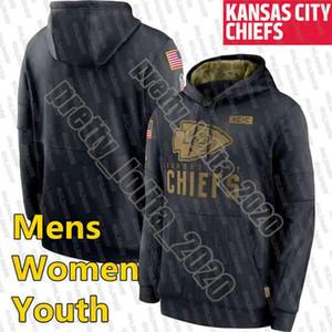 KansasCiudadjefesHombres sudadera 2020 Saludo a la mujer de servicio de la línea lateral Rendimiento Sudadera con capucha negra de los jerseys youthFootball