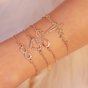 Creative Hot Sale Set Bracelet Simple Love Diamond EKG Four-piece Bracelet Ladies Fashion Jewelry