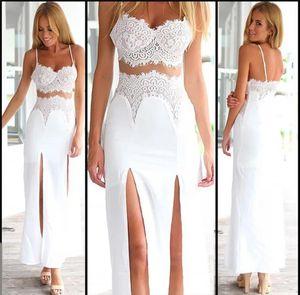 Sexy Women Two Pieces Lace V neck Floral Strap Tabk Vest Crop Tops High Waist Split Skirt Side Split Long Maxi Skirt