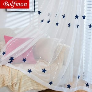 Yellow Navy Stars Embroidered Voile Curtains for Living Room Kids Bedroom Meteor Window Treatment Sheer Curtains Tulle Kitchen1