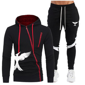 Men Hooded Sweatshirt 2 Pieces Tracksuit Brand Clothing Men's Fashion Sport Suit Sportswear Hoodies +pants 2020 Autumn Sets