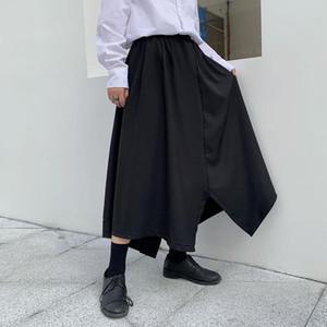 Мужские брюки Летние брюки Нерегулярный дизайн Cлотфики юбка стилист черный Yamamoto мода