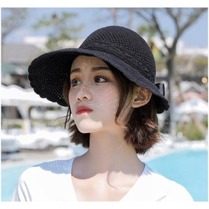 Elegant Foldable Sun Hats For Women Wide Brim Adjustable Back With A Bow Summer Sombreros Ladies Beach Ua Straw Visors wmtYXc queen66