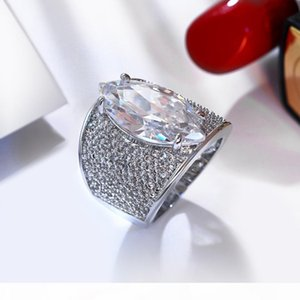 Large Horse eye shape with Red Blue Clear big cz ring Long design unique jewelry Accessories for woman Bands Trendy ring