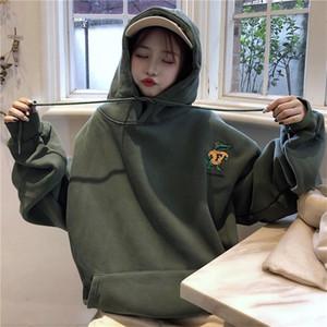 Kpop oversize con cappuccio Harajuku Rana ricamo manica lunga Pullover Felpa Donna Autunno Inverno vestiti larghi vestiti caldi