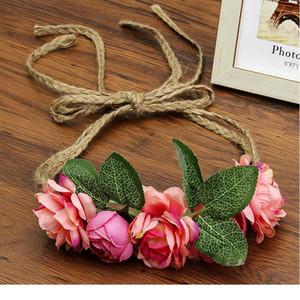Haimeikang 화환 머리 꽃 손목 꽃 왕관 조정 가능한 장식 패브릭 로프 등나무 시뮬레이션 꽃 머리 jllbpl