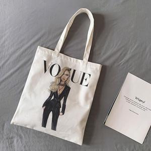 CZCCWD جديد مثير أزياء العلامة التجارية فتاة شقراء الطباعة VOGUE الكتف حقائب قماش جميلة شارع المتناثرة حقيبة يد محفظة المرأة حقيبة