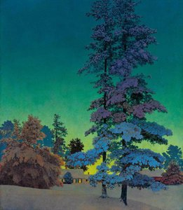Maxfield Parrish Winter Night Landscape Home Decor Handcrafts  HD Print Oil painting On Canvas Wall Art Picture 201023