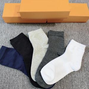 Meios de esporte das mulheres mens 100% algodão atacado casal 5 cores meias longa e tube em forma de caixa amarela