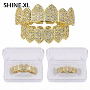 New Custom Teeth Grills Gold Silver Color Micro Pave Cubic Zircon Top & Bottom Tooth Caps Body Jewelry Halloween Party Gift