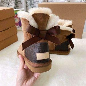Winter Damen Kinder Fashion-Schnee-Aufladungen New Kuh Split Top gemeinsam echtes Leder Ankle Boots Brown-Blumen-Art-Schuhe Signed Stiefel