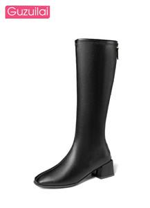 Guzuilai новая мода женская обувь длинные сапоги высокие каблуки сапоги черные женские толстые пятки