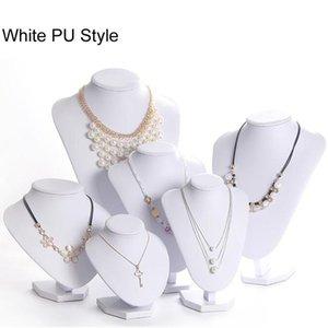 Белый PU Модель Bust Show Экспонент 6 Опции Серый Черный Белый Бархатные Украшения Дисплей Ожерелье Подвески Манекен Ювелирные Изделия Стенд