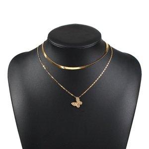 Inspesight! Z Punk Multi-Layered Flachklinge Ladungskettenanschluss Halskette Einfache Gold Halskette Gold Für Damenjude