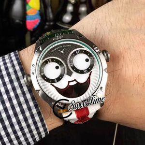 NUEVO Konstantin Chaykin Joker Joker Sonriente única Caja de acero verde interior Tiempo ruso suizo Cuarzo Reloj Reloj Negro Correa de cuero negro Corbata Red