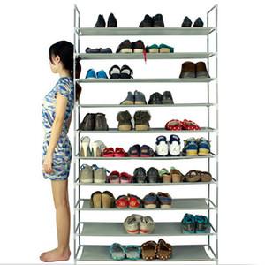 100CM فائقة سعة كبيرة 10 الطبقات غير المنسوجة الحذاء الرف الأقمشة الصلب رمادي