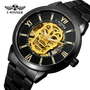T-winner Men's High Quality Automatic Self-wind Skeleton Analogue Steampunk Watch Clock with Stainless Steel Bracelet Wrg8141m4
