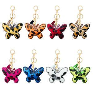 Korean Velvet Rhinestones Animal Jewelry Accessories Leopard Butterfly Keychain Key Chain Pendant Car Bag Charm