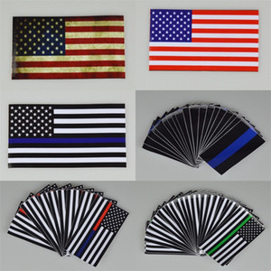 Thin Blue Line Flag Decal 6.5*11.5 CM American Flag Sticker for Cars and Trucks Wall Window Stickers Decorative Stickers 28 M2