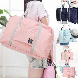 أكياس التخزين سعة كبيرة الأمتعة التعبئة حمل السفر التسوق حقيبة كبيرة للطي الملابس الحقيبة المنظم النايلون جودة عالية