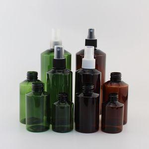 50ML 100ML 150ML 200ml في 500ML إفراغ مستحضرات التجميل الحاويات البلاستيكية مع ضباب بخاخ عطر مضخة الأخضر زجاجة التعبئة والتغليف عبوة قابلة للتعبئة