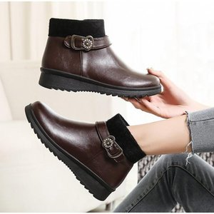 Women Winter Shoes Fur Casual Ladies Snow Boots PU Leather Fashion Non Slip Ankle Boots Female Flats Shoes New Buckle Warm Plush