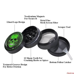Skull Series Metal Aluminum Alloy Smoking Herb Grinder 50MM 4 Parts Layers CNC Diamond Spice Tobacco Grinders Spice Crusher DHL