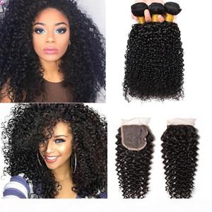 Mongolian Kinky Curly Virgin Hair 3 paquetes con 1 cierre de cordones 100% brasileño peruano peruano indio indio indio rizado rizado pelo humano encaje closu closu.
